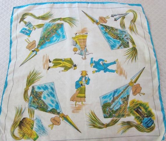 1950s ITALIAN souvenir scarf, Commedia dell'arte,… - image 2