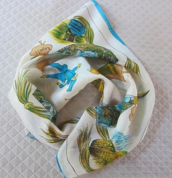1950s ITALIAN souvenir scarf, Commedia dell'arte,