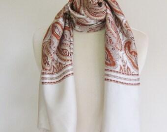 1950s mens long scarf, gentlemen s scarves, paisley opera scarf, vintage tuxedo scarf, rust paisley, mens vintage fashion, classic  scarf