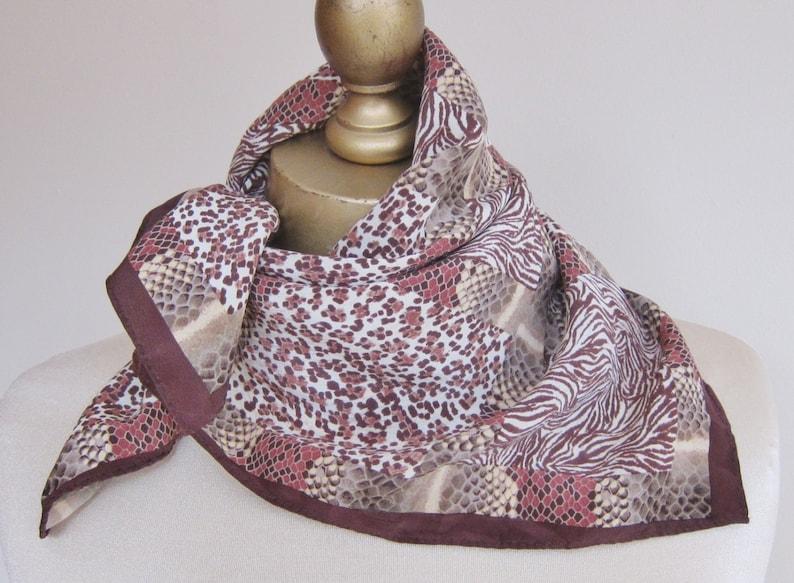 171955ded4e9c Square SILK scarf Anne Klein silk square 80s scarves animal | Etsy