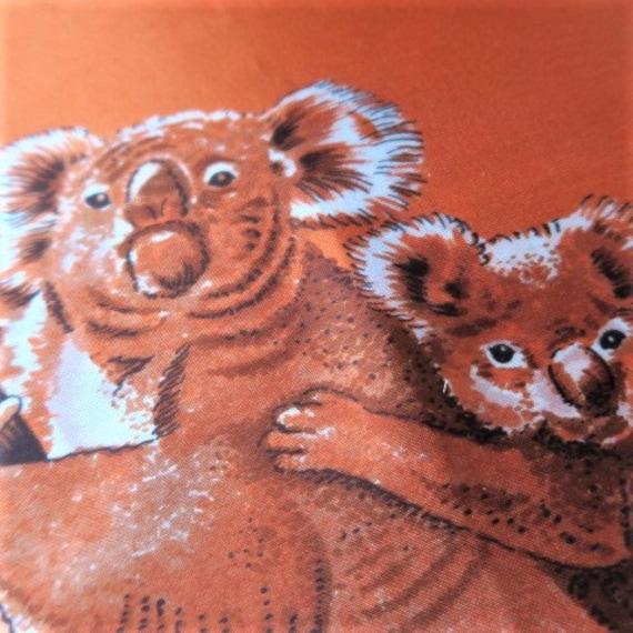 KOALA scarf,  Australian souvenir scarf, orange tr