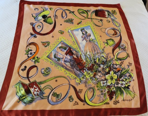 1940s  scarf, PICTURE FRAME , silk scarf 40s, silk