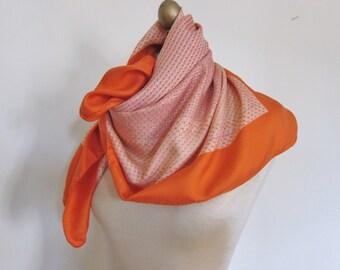 SILK scarf 1970s , TANGERINE scarf, geometric silk scarf, ladies headscarf, 70s fashion, silk hair wrap, square silk scarf, orange scarves