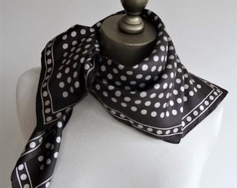 BROWN silk scarf, POLKA DOT scarf, silk square scarf, hand rolled, chocolate silk, silk neckerchief, spotted headscarf, classic neck scarf,