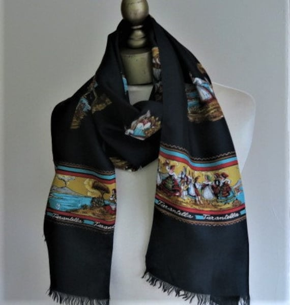 ITALIAN scarf, TARANTELLA, long black scarf, silk… - image 1