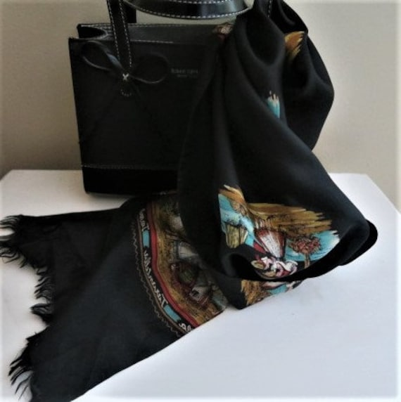ITALIAN scarf, TARANTELLA, long black scarf, silk… - image 4