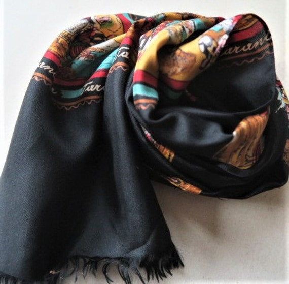 ITALIAN scarf, TARANTELLA, long black scarf, silk… - image 8