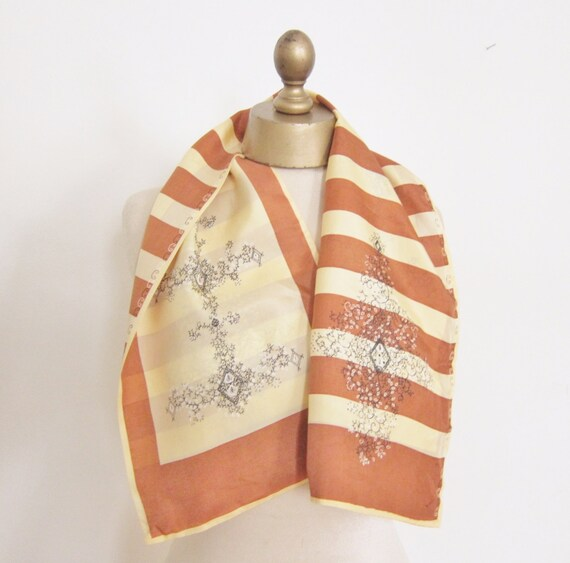 REVERSIBLE silk SCARF,  1940s Silk scarf, OBLONG s