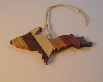 Michigan Upper Peninsula shaped laminated hardwood ornament