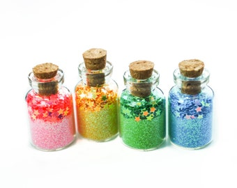 Magic of a Unicorn, rainbow, stars, Unicorn Party, Unicorn Favor, Castle, Fairy, Faerie, Faery, Pink, Yellow, Green, Blue, Cork Jars