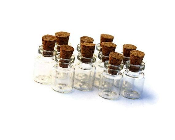 tiny glass jars with wood cork glass vial cork jar glass etsy