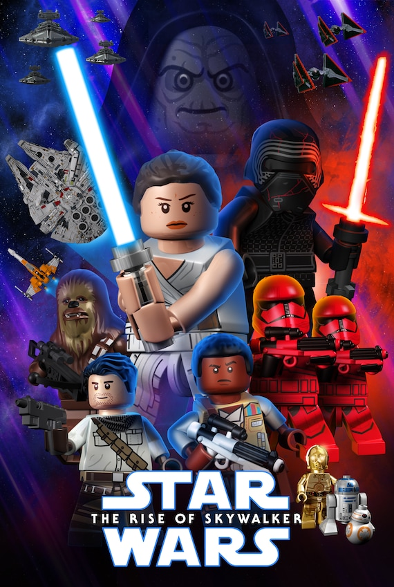 Lego Rise Of Skywalker Poster 24x16 Etsy