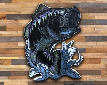 Bass Woodblock - Original Hand-Painted/Carved Bass