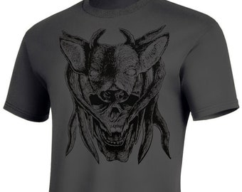"""Antler and Skull - """"Trophy"""" - Woodblock Printed T-Shirt"""