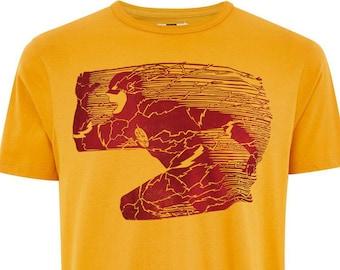 "The Flash - 9""x12"" - Handmade - Linocut Block Printed Shirt- Red on Yellow"