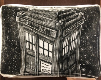Doctor Who - T.A.R.D.I.S. - Cotton Mask - Linocut Block Print