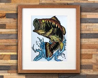 Largemouth Bass - Woodblock Print