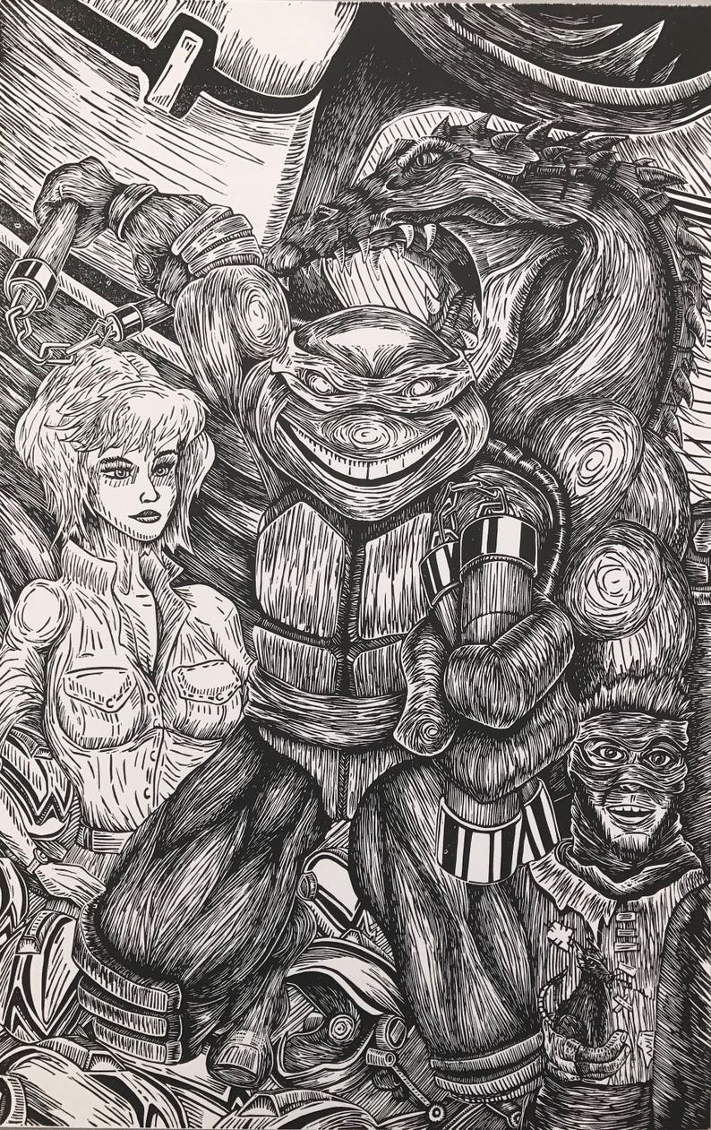 Michelangelo  TMNT  11 x 17  Limited Edition image 0