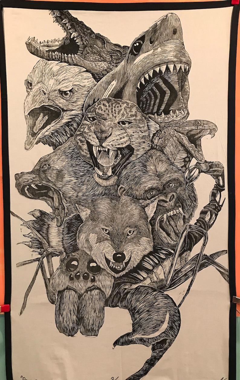 PRIMAL  3' x 5' Woodblock Print image 0