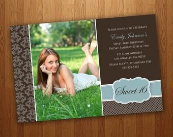 Printable Sweet 16 Invitations / Sweet Sixteen Invitations - Brown