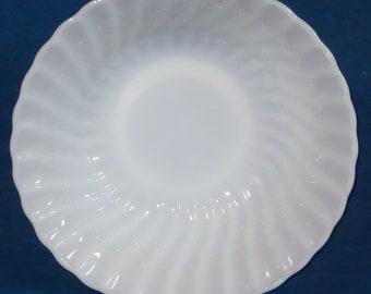 "Anchor Hocking white swirl bowl  8 1/2"""