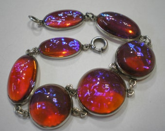 RESERVED Vintage Sterling Silver Dragons Breath Seven Glass Opal Stone Bracelet 7.25 Inches 1 of 3 Payments