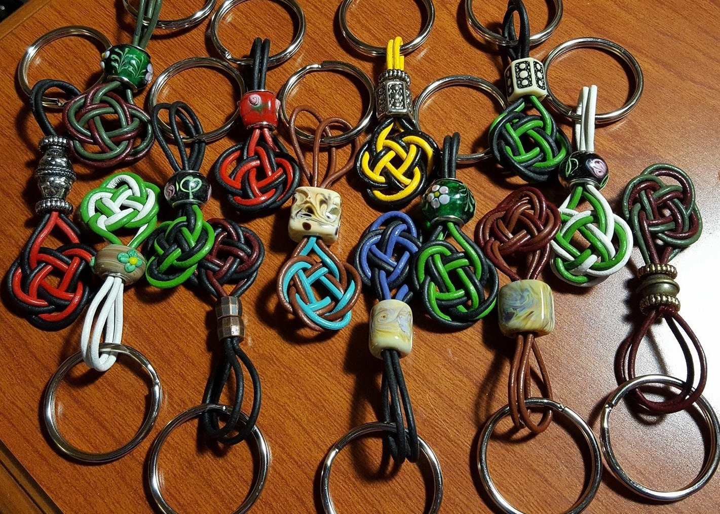 Leather keychain with picture Choice of Celtic knot style and leather color
