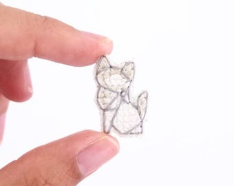 Ragdoll cat cross stitch pin, gifts for cat lovers, kitten collar pin, cat pin, gifts under 30, gifts for cat moms, tiny cat pin, white cat