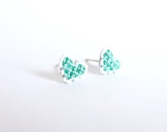 Mint heart cross stitch earrings, gifts under 20, gifts for her, bridesmaid gift, friendship, valentine's day gifts