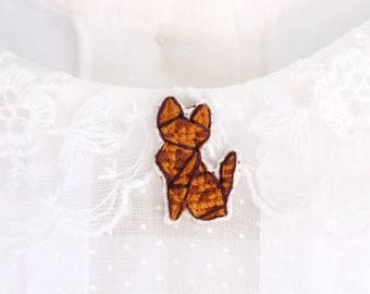 Bengal cat cross stitch pin, gifts for cat lovers, kitten collar pin, cat pin, gifts under 30, gifts for cat moms, tiny cat pin, brown cat