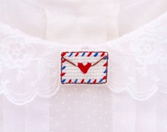 SALE: Airmail cross stitch collar pin- Large, gifts for her, love letter, valentine's day, gifts for pen pals