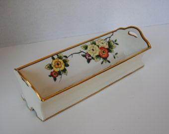 Stunning Vintage Noritake Gold Trimmed Hand Painted Cracker Server