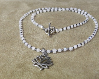 Rainbow Moonstone with Tiny Hematite Beads and a Lotus Charm, Dainty Necklace