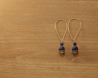 Gemstone dangle earrings - Blue Lapis