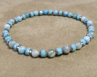 Turquoise and Silver Capped Turquoise Barrels, Stretch Bracelet