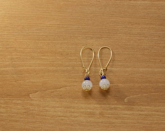 Gemstone dangle earrings -White Jade and Blue Lapis