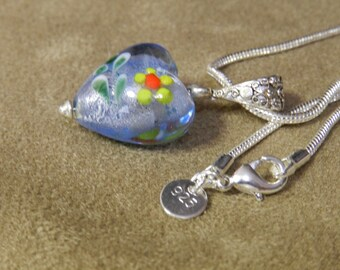 Glass Heart on a Sertling Silver Snake Necklace