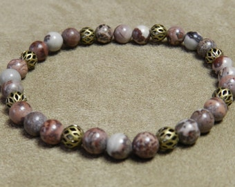 Gray Red Jasper Stretch Bracelet with Antique Gold Filigree Beads, 6mm