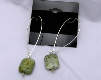 """Colorful Green African Turquoise 10mm 2"""" Drop Earrings, Sterling Silver."""