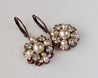 Braut Ohrringe. Hochzeit Strass Schmuck. Strass Ohrringe. Vintage-Stil Hochzeitsschmuck. Viktorianischen Ohrringe. Perlenschmuck