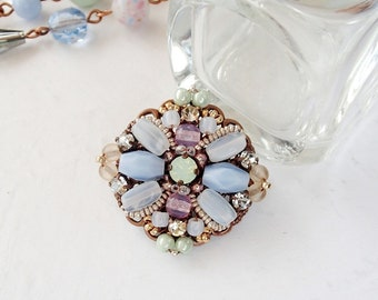 Pastel Color Brooch. Vintage Style Rhinestone Jewelry. Small Brooch in Pink, Blue, Beige and White Opal. Multicolor Handmade Pastel Jewelry