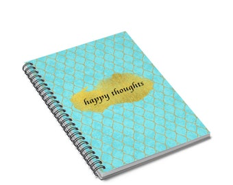 Happy Thoughts Spiral Notebook  Ruled Line Blue And Gold Happy Thoughts Notebook Or Journal Positivity Notebook