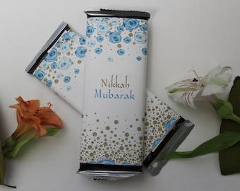 Set of 12 Custom Wedding Candy Wrappers-- Blue Gold and White Floral Nikkah Mubarak Wrappers-- Personalize for Any Occasion-- Party Favors