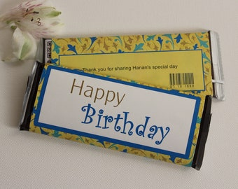 Set of 12 Customizable Happy Birthday Candy Wrappers Yellow and Blue Party Favors-- Personalize for Any Occasion