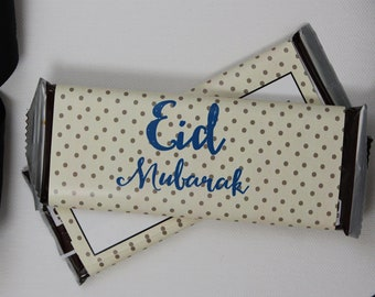 Set of 12 Customizable Eid Mubarak Candy Wrappers- Eid or Ramadan Party Favors- Polka Dotted Candy Wrappers- Personalize for Any Occasion