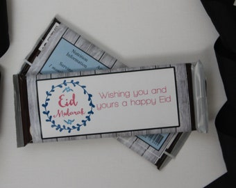 Set of 12 Customizable Eid Mubarak Candy Wrappers Eid Party Favors Pink and Blue on a Gray Wood Background-- Personalize It