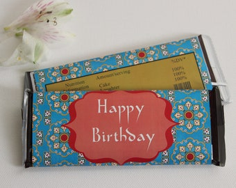 Set of 12 Custom Happy Birthday Candy Wrappers- Blue & Red Moroccan Style Wrappers for 1.55 oz Bars- Custom for Any Occasion- Party Favors