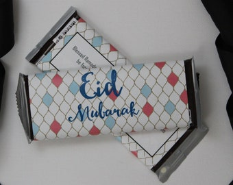 Set of 12 Custom Eid Mubarak Candy Wrappers- Eid or Ramadan Party Favors- Stained Glass or Diamond Wrappers- Personalize for Any Occasion