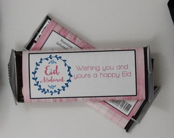 Set of 12 Customizable Eid Mubarak Candy Wrappers Eid or Ramadan Party Favors Pink and Blue on a Pink Wood Background-- Personalize It