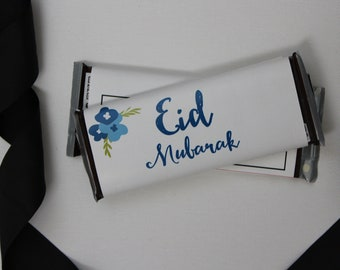 Set of 12 Customizable Eid Mubarak Candy Wrappers Eid Party Favors Blue Floral-- Personalize Them